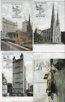 4 VINTAGE NEW YORK CITY POSTCARDS WITH ADVERTISING FOR GILLIES COFFEE