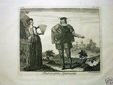 Vestido de los ESPAÑOLES 1744, Grabado J. Van der Gucht.
