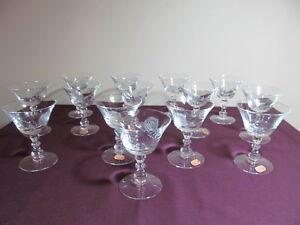 Fostoria Etched Glass Rose Set of Fourteen Low Sherbets MINT