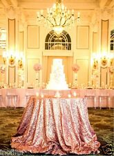 New Rose Gold Sequin Tablecloth 72'' Round for Wedding/Dessert Dinning Table
