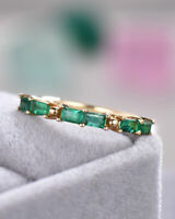 2Ct Baguette Cut Green Emerald Minimalist Wedding Band Ring 14K Yellow Gold Over