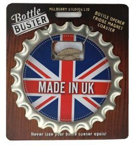 MADE IN UK - Bottle Buster British Ed 3-1 Opener Coaster Fridge Magnet Beer Best