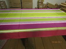Nappe polyester rayures vert/rose 140 x 154
