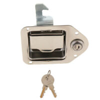 CHROME RV CAMPER TRAILER MOTORHOME PADDLE ENTRY DOOR LOCK LATCH W/ 2 KEYS
