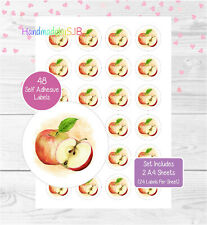Apple Fruit Stickers, 48 Round Labels For Envelope Seals/Product Labelling/Gifts