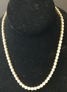 "❤️Nat Landau Hyman CZ Gold Vermeil Sterling Silver tennis Necklace 16.5"""