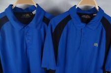 Lot of 2 Mens McDonalds Apparel Collection Blue/Black Polo Shirts Uniform Size L