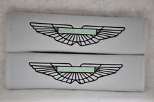NEW Light Gray Aston Martin Embroidery Car Seat Belt Cover Shoulder Pads Pair