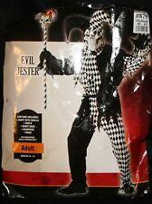 Evil Jester Halloween Costume M 40 42 Skulls Mask Black White Checked NIP Adult
