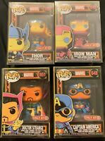 Funko Pop Marvel Black Light Set of 4 : Captain America, Iron Man, Thor, Strange