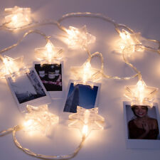 LuxLumi Star Photo Clip 20 LED String Lights Bedroom Dorm Room Picture Hanging