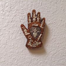 """Hand Tooled  Copper Wooden Hand 5"""" x 3"""" Silver Color Brass Milagros"""