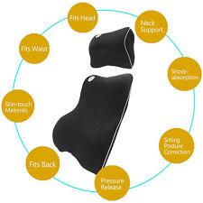 Black Seat Cover Car Memory Foam Lumbar Cushion + Neck Pillow Premium Set Kit