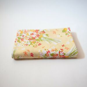 Vintage 70s/80s Percale Yellow Floral Bouquet Flat Sheet- Twin