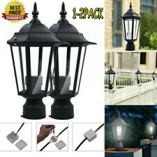 1-2x Post Pole Light Outdoor Garden Patio Driveway Electric Yard Lantern Lamp