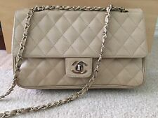 Chanel Vintage Classic Flap Bag Quilted Lambskin Leather Medium Beige w Gold
