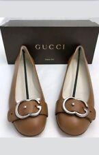 Gucci Leather Interlocking G Buckle Flat Tan
