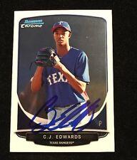 CJ C.J. EDWARDS 2013 BOWMAN CHROME AUTOGRAPHED SIGNED AUTO BASEBALL CARD BCP144