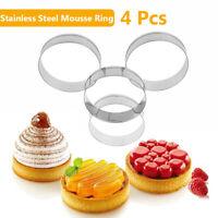 4 PCS Edelstahl Mousse Ring Kuchenform Haushalt DIY Burger Kuchen Brotform
