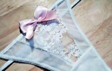 Silky Nylon Sheer Dentelle Culotte Semi Thong String Tanga Culotte Nœud en Satin L-XL