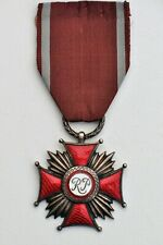 Pologne: Croix du Mérite de la République, 1er type 1918-1940 argenté, émail