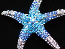 BLUE TEAL RHINESTONE OCEAN SEA LIFE SEA STAR STARFISH PIN BROOCH JEWELRY 2.25""