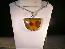 AMAZING AMBER PENDANT..HANDMADE SET IN STERLING SILVER & STERLING SILVER CHAIN