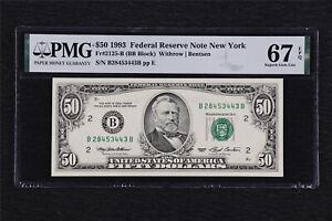 1993 Federal Reserve Note New York 50 Dollars Fr#2125-B PMG 67EPQ Superb Gem UNC
