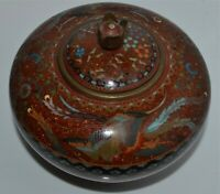 Antique Japanese Cloisonne Covered Footed Vessel Goldstone Pheonix Meiji