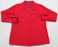 Claiborne Dress Shirt XL Extra Large Red Womens Woman Button Front Polyester