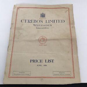 ANTIQUE VINTAGE CEREBOS LIMITED PRICE LIST CATALOGUE JUNE 1930