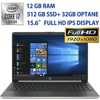 "NEW HP 15.6"" Full HD Laptop Intel Core i7- 512GB SSD+ 32GB OPTANE- 12GB RAM- IPS"