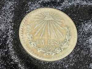 1920 Mexico 1 Un Peso Cap & Rays .720 Silver; SCARCE DATE
