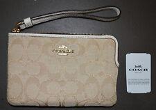 e4aee88ba4 Authentic Coach F58033 Single Corner Zip Wristlet Wallet Light Khaki chalk