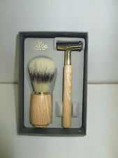 Omega Made in Italy Mens Boar Shaving Brush & Shaving Handle (Wood) Set NEW