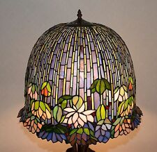 "19""W metal Base Lotus Water Lily Flower Stained Glass Handcrafted Table Lamp"