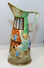 "RARE VINTAGE  E. RADFORD ART DECO HAND PAINTED PITCHER VASE 11"" TALL MINT"