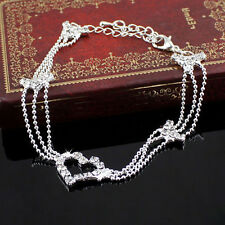 Charm Silver Plated Bead Anklet Ankle Bracelet Chain Crystal Fashion Jewelry b8
