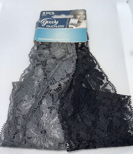 Goody Ouchless Headbands 2 Pieces Black and Gray Floral Lace NEW