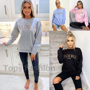 Women J'Adore Paris Sweatshirt Ladies Girl Oversized Sweater Jumper Pullover Top