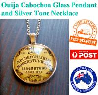Ouija Board Cabochon Glass Necklace Pendant Chain Silver Tone