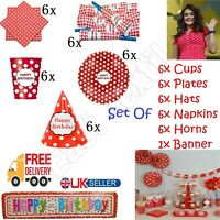 6pcs Birthday Party For 6 Red Polka Dot Cool Tableware Hats Plates Cups Napkins