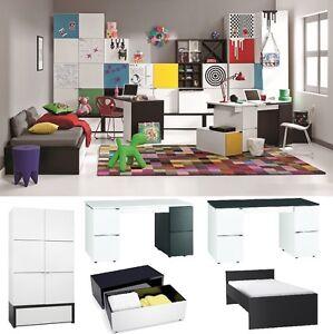 Jugendzimmer Kinderzimmer BLACK&WHITE komplett weiß-schwarz Schrank Schreibtisch