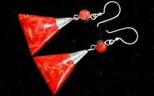 Coral Style Silver Earrings - Triangle Drop