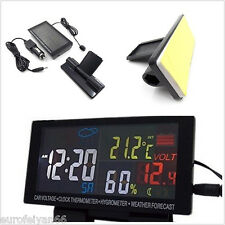 4in1 In-Car LCD Display Voltmeter Clock Thermometer Weather Forecast Gauge Meter