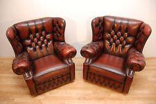 Vintage moines Chesterfield fauteuils rouge foncé en cuir