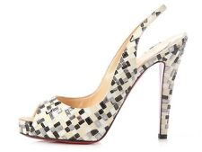 CHRISTIAN LOUBOUTIN Black and White Sequin Peep Toe Slingbacks, Size 39.5 9