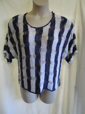 KATIES, Multi-Coloured Stripe, Loose Knit Top, Short Sl, Size L (16), Exc Cond