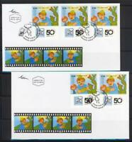 ISRAEL 2010 FILM ANIMATION ART 5 DIFFERENT STAMPS ON 2 FDC VF CINEMA MOVIE