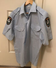 OBSOLETE VINTAGE POLICE SHIRT NSW, WITH BADGES, SIZE 43cm